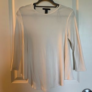 F21 3/4 WHITE SLEEVED FLARED SHIRT